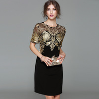 Sexy New Arrival 2017 Autumn Fashion Women Black Sheath Dress Heavy Gold Line Embroidery Short Sleeve