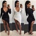 Fashion celebrity sexy club dress 2017 nuevas llegadas primavera mujer negro blanco de manga larga con cuello en v de la cadera delgada de lentejuelas vestidos de fiesta
