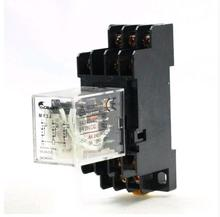 цена на MY3J AC 220V 35mm DIN Rail Coil Power Relay 11-Pin 3PDT 5A AC240V DC28V w Socket