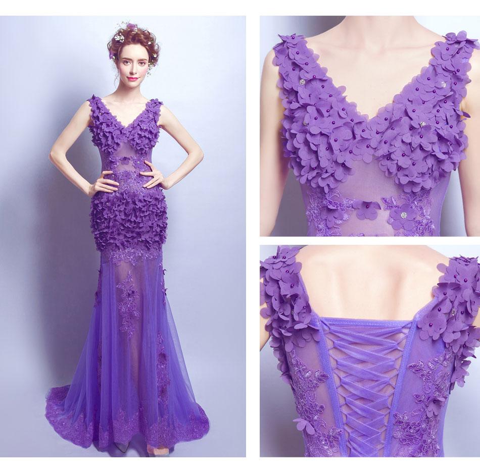 Robes de soirée 2016 mode chaude violet dentelle Roses perle longue Sexy robe de soirée élégante robe de mariée longue robe de soirée grande taille