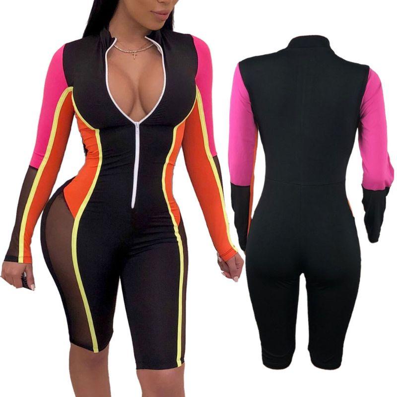 SportsX Womens Comfort Backless Deep-V Neck Zip Pure Colour Romper Jumpsuits