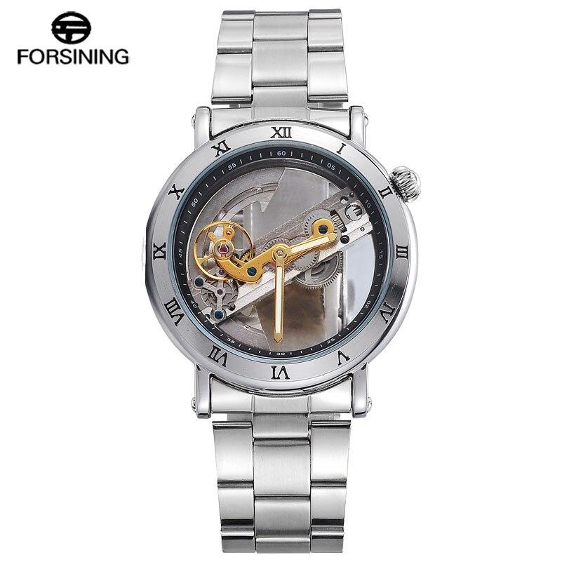 цена FORSINING Top Brand Automatic Mechanical Men Watches Skeleton Stainless Steel Bracelet Self-wind Wrist Watches Men Clock