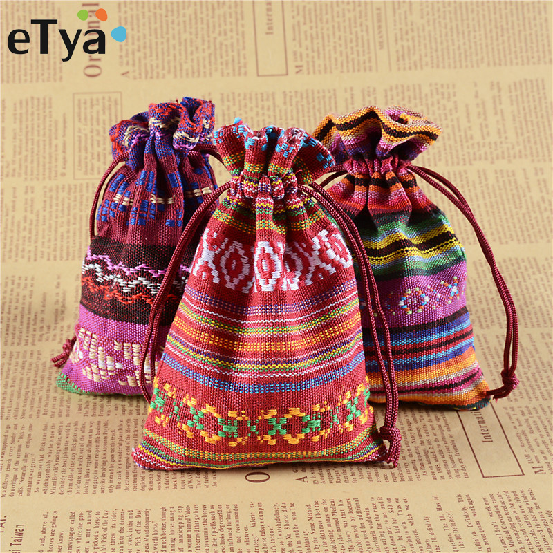 eTya Linen Drawstring Bag Jewelry Pouch Christmas Wedding Gifts Bags Drawstring Packing Bag Fashion Women Small Coin Money Pouch