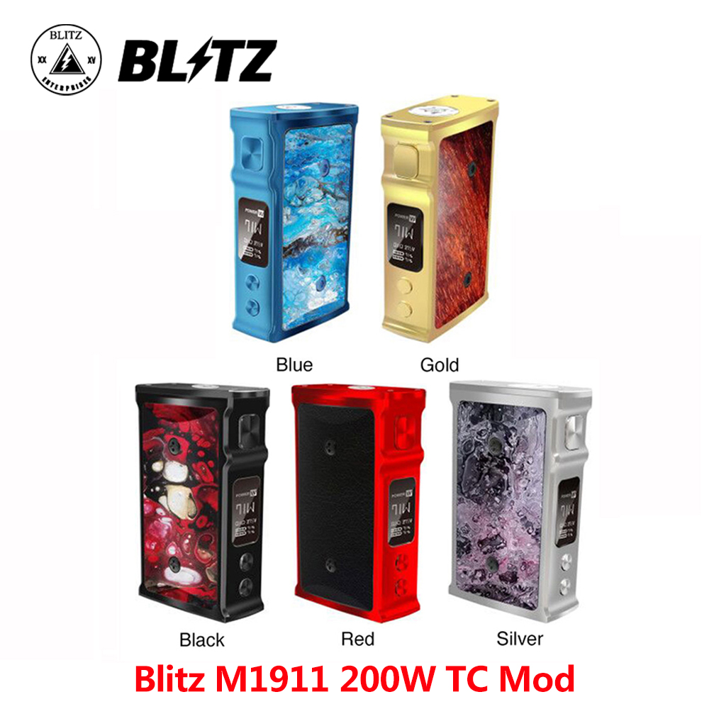 D'origine E cigarette Blitz M1911 200 W TC Mod par 18650 batteries et 0.91 pouces OLED écran ecigarette vapoteuse vs thro pro boîte mod