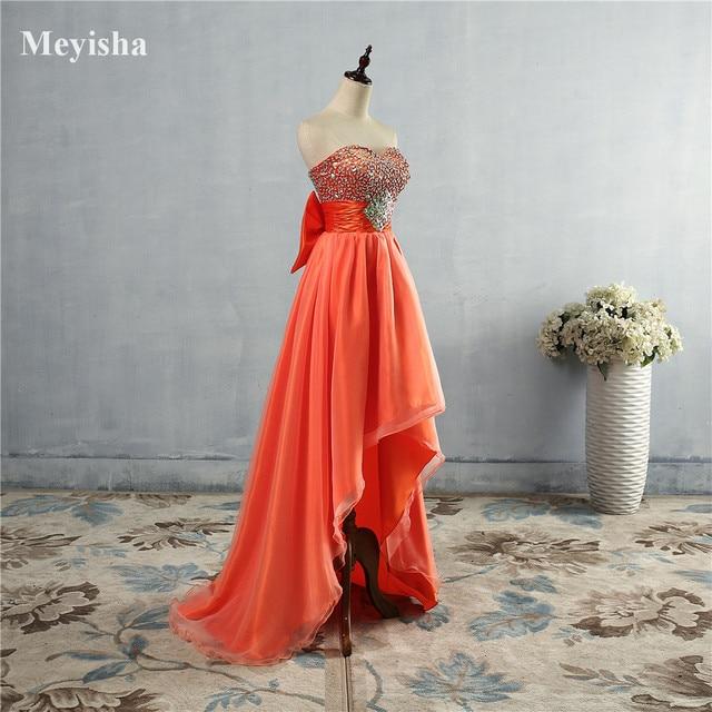 Zj5074 Orange Blue Crystal Front Short Back Long Evening Dresses