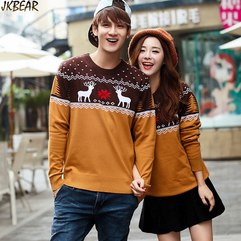 Christmas Sweaters For Couples.Us 45 98 Contrast Color Matching Christmas Sweaters For Couples Cute Reindeer Snowflake Printed Pullovers S Xxl In Pullovers From Men S Clothing On