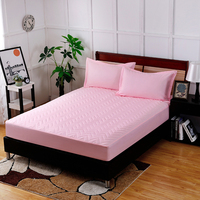 3 Colors Available Pure Pink Embossed Cotton Polyester Fiber Fitted Sheet Bedding Bed Covers Mattress Cover