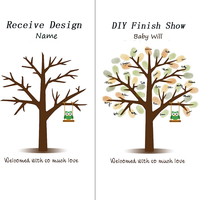 Guest Book Baby Shower Fingerprint Tree Painting Swing Owl Canvas