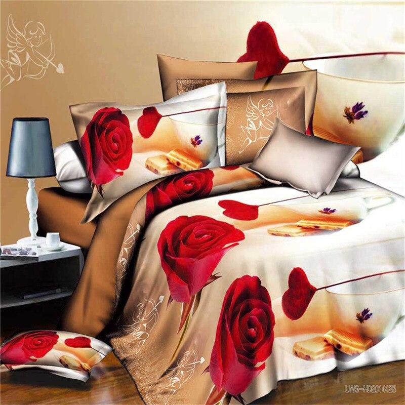 3D Flowers Bedding setsDuvet Cover + pillow flower bedclothes 3D bed sets