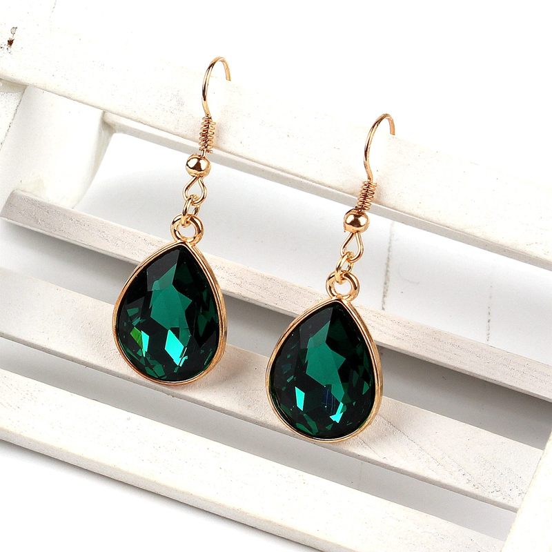 1 set Rose Gold Water drop Pendant Necklace earrings Fashion Jewelry green in Jewelry Sets from Jewelry Accessories