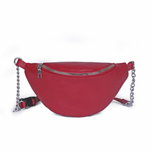 цена на New Fashion PU Leather Women Red Waist Bag Fanny Pack  Belt Bag Waist Pack Chest Bag Walking Shopping Belt Multi-function Bag