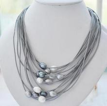 Natural Hot sale wholesale >>15 Rows 10 13mm Real White Black Gray Freshwater Pearl Necklace Leather Cord Magnet Clasp