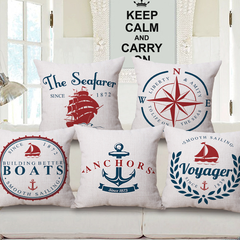 Cotton Linen home decorative throw pillow case decorate sofa cushion cover Square 45x45cm Casual Vintage Sea Sailing Boat Design