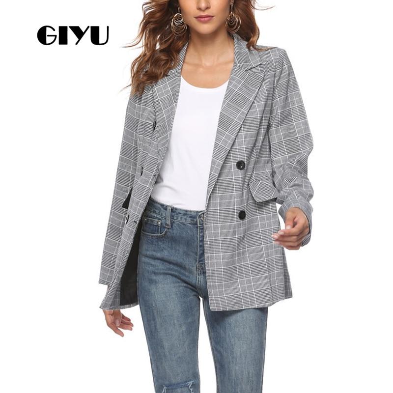 GIYU Spring Women Gray Plaid Printing Blazer Long Sleeve Double Breated Jackets Sexy Slim Tops Casual Camiseta Mujer