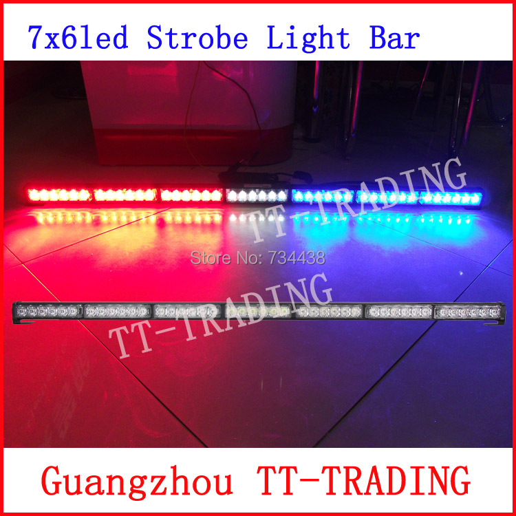Car Strobe Light bar 42 LED Flash Warning light Police strobe lights for truck emergency vehicle strobe light DC 12V 105CM