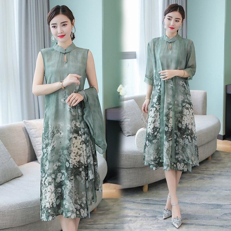 Vert Soie 2 pièces ensemble une ligne robe costumes plus la taille femmes d'été Chinois style vintage partie midi robe avec caridgan vêtements