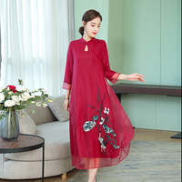 2019 New Womens Summer Dress Elegant Vintage wine Red White Organza Casual embroidered Long Dress Holiday Beach Party Vestidos