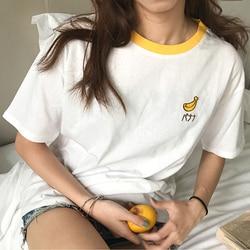 2019 New Kawaii Strawberry Embroidery Tshirt Colorful Neck Cute Tshirt Womens tee Tops Korean Ulzzang Cute Fruit Cotton T Female 2