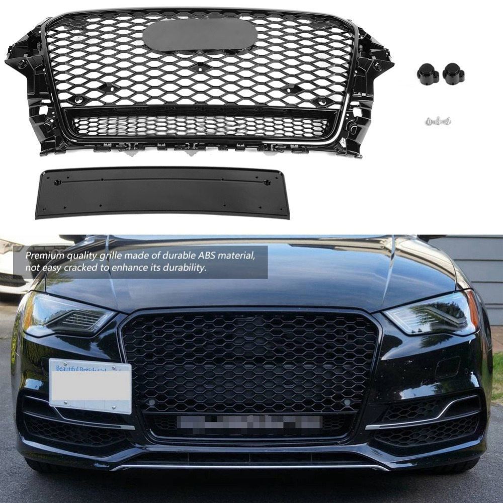 For RS3 Quattro Style Front Sport Hex Mesh Honeycomb Hood