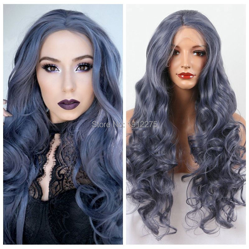 Fashion Natural  Grey Body Wave/Curl Synthetic Lace Front Wig Fulll Glueless Heat Resistant Hair Women Wigs