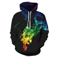 2019 Brand Hoodies Men/Women Thin Cool Fashion 3d Sweatshirts Print Smoking Skull Hooded Streetwear