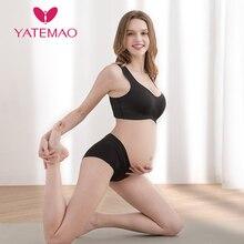 YATEMAO 2pcs Comforty Maternity Nursing Bra Breastfeeding Wireless Push Up Sports Bra Stretchy Soft Pregancy Bra