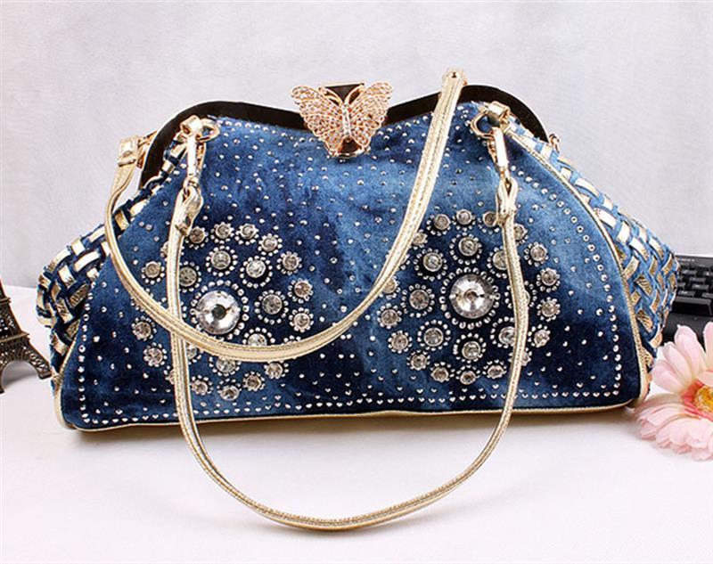 Image 4 - Chic Denim Fireworks Rhinestones Women Handbag Top Handle  Butterfly Decoration Patchwork Ladies Shoulder Bag ClutchTop-Handle  Bags