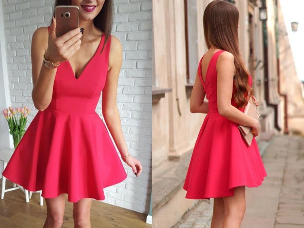 Красный 2019 Homecoming платья A Line v образным вырезом Короткие Мини Backless элегантные коктейльные платья