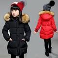 4-12Y девушки зимнее пальто средней длины хлопка проложенный девушки пуховик с капюшоном теплые дети верхняя одежда пальто сгущает вниз и парки