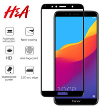 "H&A 9H Full Coverage Tempered Glass For Huawei Honor 7A Pro AUM-AL29 7A 5.45"" For Honor 7C AUM-L41 5.7"" 7C Pro Screen Protector(China)"