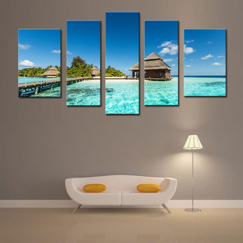 5 Picture Combination Wall Art The Picture For Home Decoration Maldives Tropical Island With Beach Villas Beach Seascape