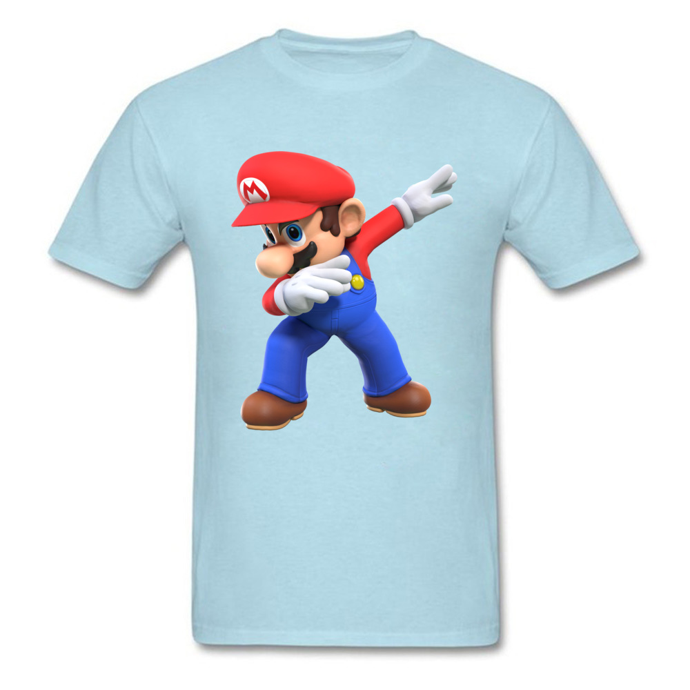 2018 Men T Shirts Round Neck Short Sleeve 100% Cotton super mario bros825yy T Shirt Printed On Top T-shirts Wholesale super mario bros825yy light