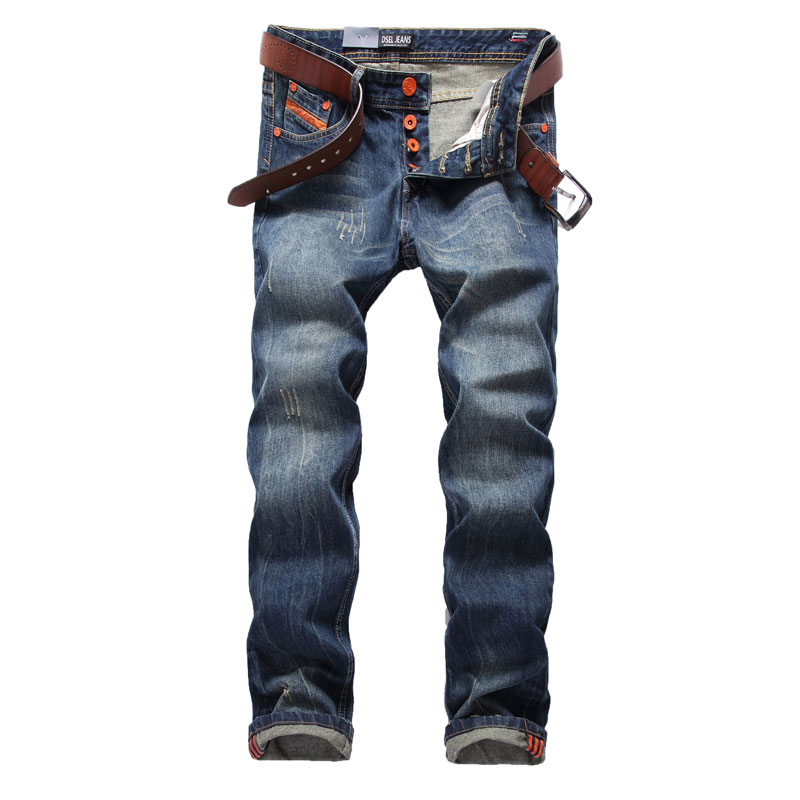где купить High Quality Dsel Brand Men Jeans Fashion Designer Distressed Ripped Jeans Men Straight Fit Jeans Homme,100% Cotton,Size 29-40 по лучшей цене