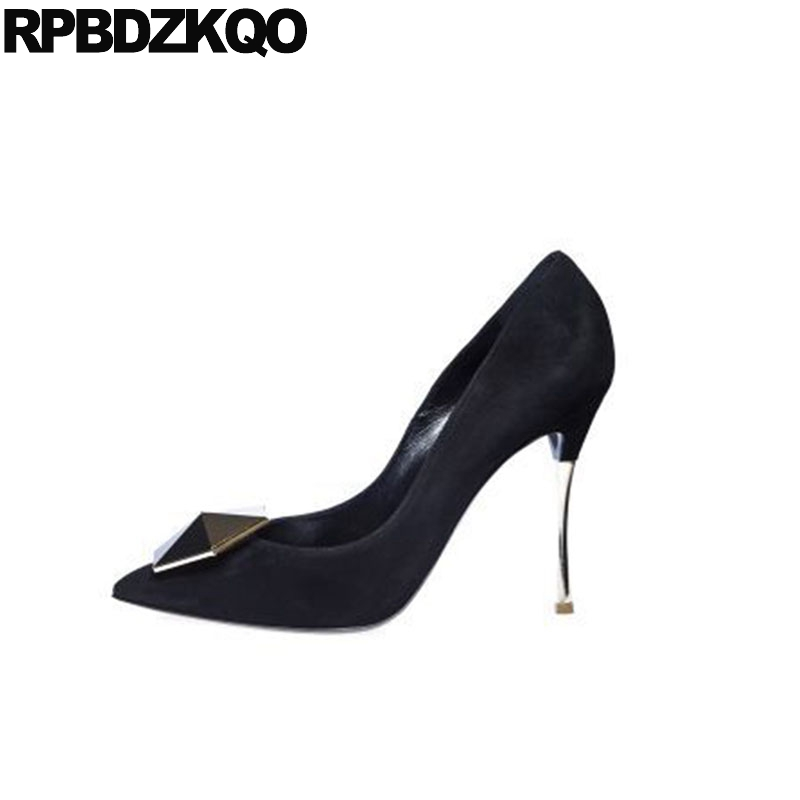 Chaussures femme métal talons aiguille extrême grande taille escarpins hauts daim décapant bout pointu super 33 marque scarpin 8 cm noir ultra