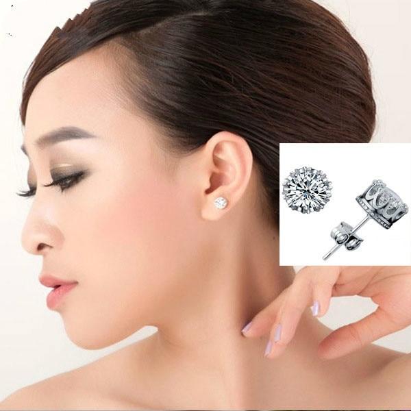 Korean Crown Aaa Zirkoon Crystal Silver /gold Color Earrings Fashion Jewelry Women Wholesale Dropshipping