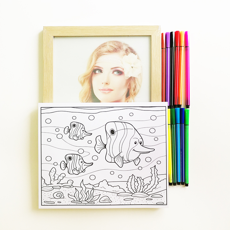 Coloring Book for Kids/Children 48 Coloring Paper with 12 Pcs Watercolor Pens and a Picture Frame Children's Coloring Book impressionism coloring book