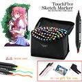 TouchFive Art Marker Set 30/40/80/168 Colors Black Body Drawing Marker Pen Alcohol For Dual Headed Tip Pen for Art Sketch Marker