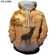 YX Girl New Casual Animal Hoodies Women Men 3D Deer Hoodie Long Sleeve Hoody Sweatshirt Autumn Tracksuit Polyester Pullover