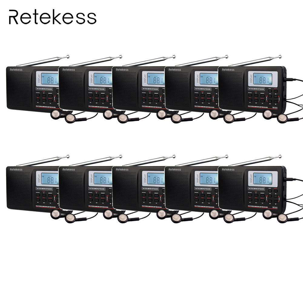 10pcs Retekess V111 Best DSP FM Radio Stereo / MW / SW Radio Multiband Radio World Radio Receiver with Clock&Alarm F9201A degen de1103 radio fm sw mw lw ssb digital radio receiver multiband dsp radio external antenna world band receiver y4162h
