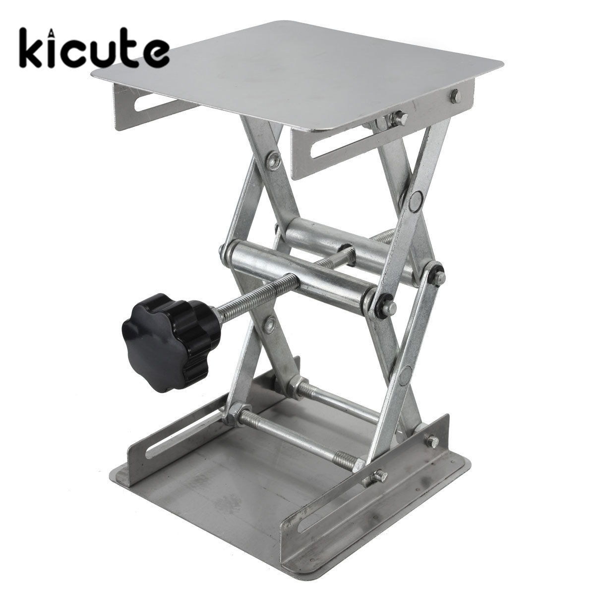 Kicute New High Quality Stainless Steel Lab Jack Lifting Table Laboratory Platform Support Jack School Lab Supplies100*100*160mm