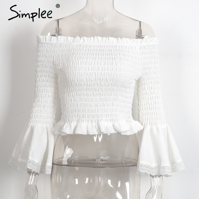 Simplee Off shoulder chiffon blouse women Sexy flare sleeve pleated summer blouse Elegant beach party blusas
