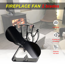 2 Blade Efficient Stove Fan Heat Powered Log Wood Burner Eco Fireplace Fan  Friendly Quiet Home Heat Distribution Fireplace Tool