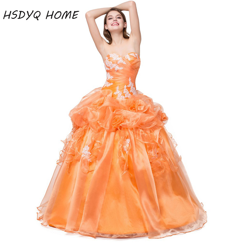 Orange Amazing Ball Gown Quinceanera Dresses Real Photos Prom Gowns Birthday Dresses 2017 Appliques Vestidos De 15 Anos