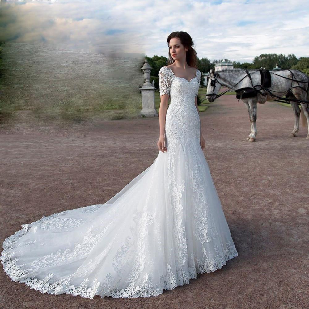 Wedding Gowns With Cap Sleeves: Eslieb Sweetheart Lace Mermaid Wedding Dresses Cap Sleeves