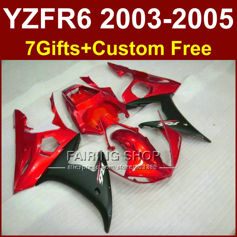 Motorcycle fairing parts for YAMAHA YZF R6 2003 2004 2005 fairing kit r6 03 04 05 red black fairings 7Gifts RJ7H