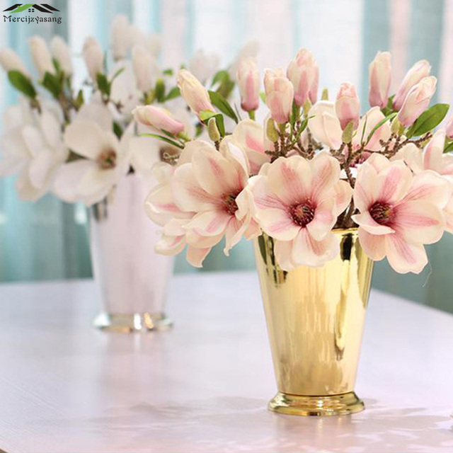 Flowers Vases Table Metal Silver Plated Vase Plant Basin Dried
