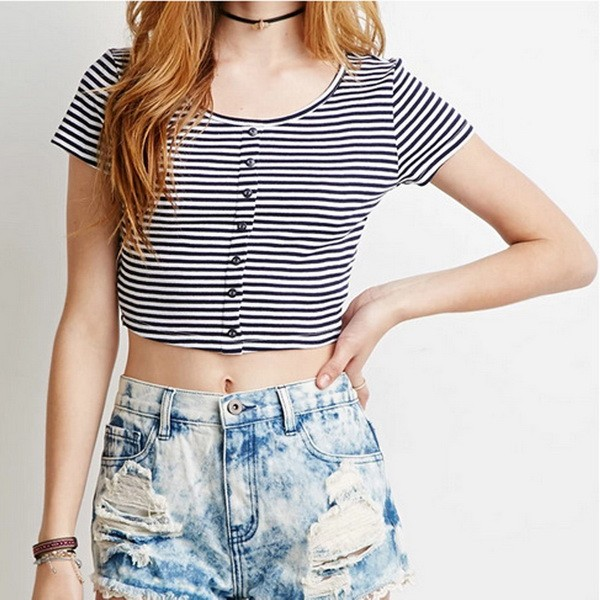8d9750b8e93fec Women Tshirt Summer 2016 Womens Casual O-Neck Short Sleeve Striped Cropped Tops  Ladies Front