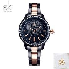 SHENGK модные брендовые женские кварцевые часы для женщин повседневные наручные часы горный хрусталь браслет часы розовое золото Кристалл Reloje Mujer