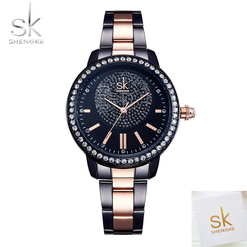 SK Marque De Mode Dames Montre À Quartz Femmes Casual Robe Montre-Bracelet Strass Bracelet Montre En Or Rose Cristal reloje mujer