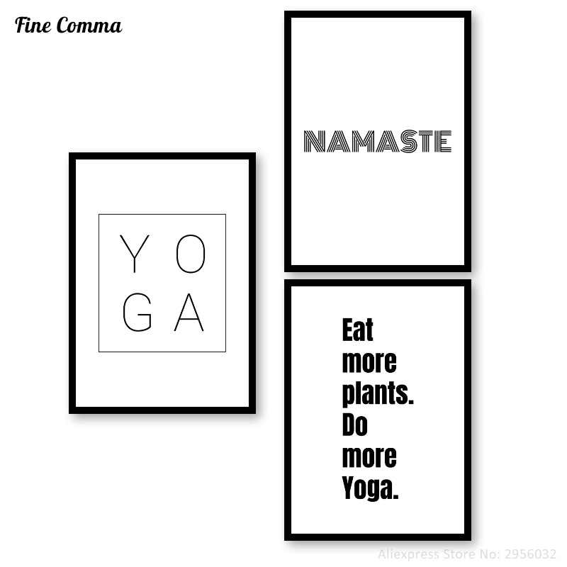 Namaste Eat more plant do more Yoga Print Quotes Minimalist Typography Wall Canvas Art Pilates Art Yoga Studio Poster Home Decor